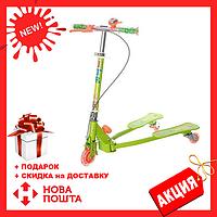 Детский светящийся трехколесный самокат iTrike JR 3-017 Зеленый (3 вида)   самокат на 3 колесах для детей