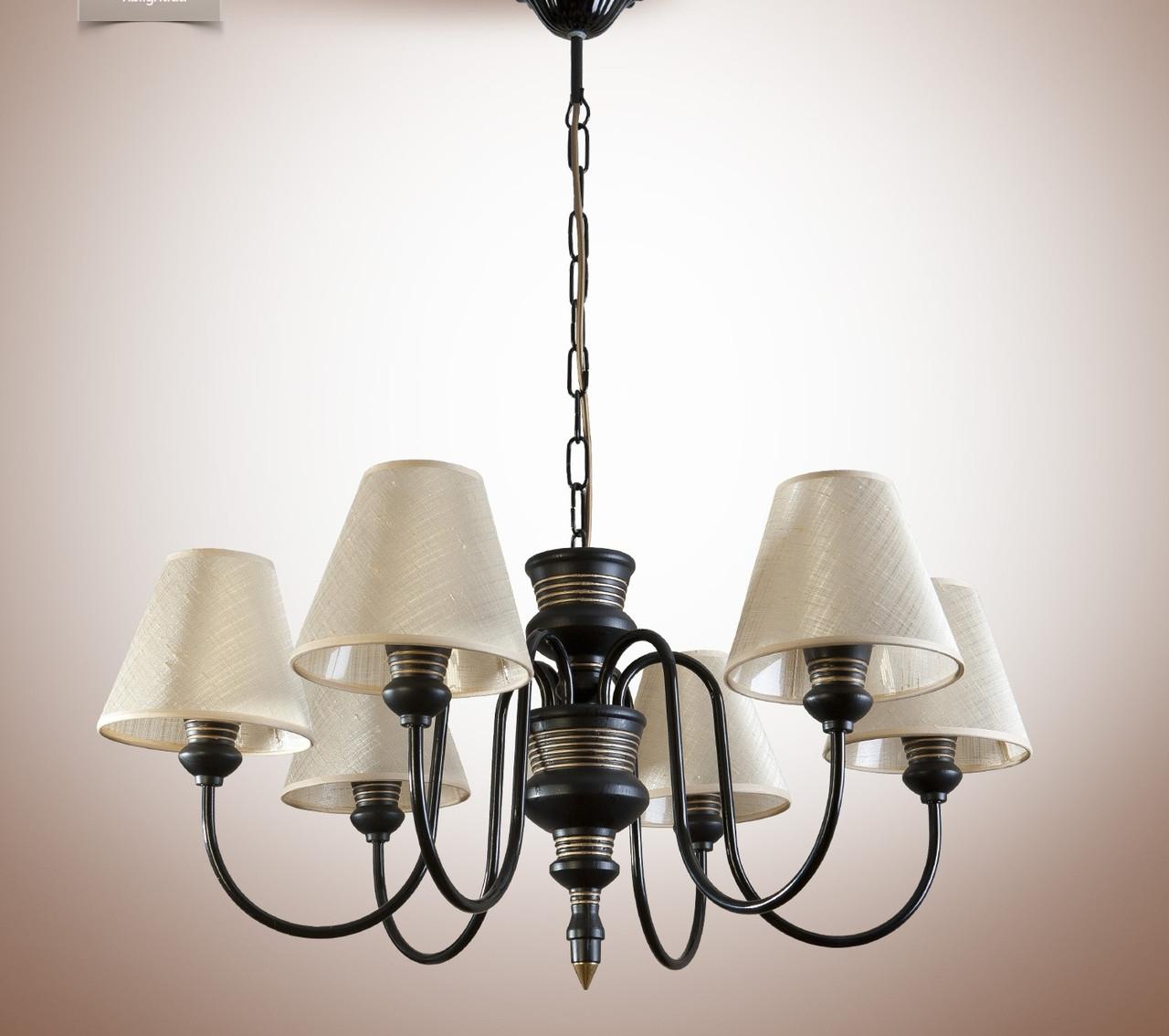 Люстра для зала, 6-ти ламповая с абажурами 14406