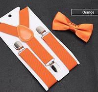 Подтяжки детские оранжевые с бабочкой