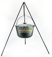 Казан чугунный туристический 12л 32см с чугунной крышкой, дужкой и треногой, посуда чугунная Биол (0712ЧК-2), фото 1