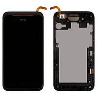 Дисплей (экран) HTC 210 Desire Dual Sim с сенсором/ тачскрином (Модуль) чёрный с рамкой чёрная