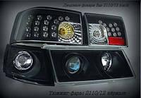Передние фары+задние фонари на ВАЗ 2110 черного цвета