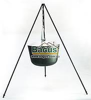 Казан чугунный туристический 12л 32см с алюминиевой крышкой, дужкой и треногой, посуда чугунная Биол 0712АК-3, фото 1