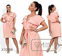 Платье миди из штапеля, прямое в стиле сафари с карманами и резинкой на талии под пояс, 1 цвет