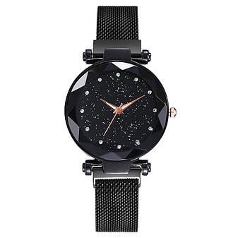 Жіночі наручні годинники на магнітній застібці (чорний ремінець), фото 2