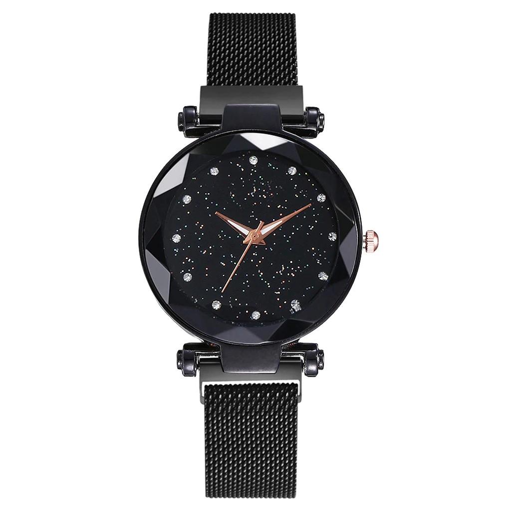Жіночі наручні годинники на магнітній застібці (чорний ремінець)