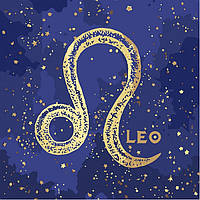Картина по номерам, краска металик, знак зодиака Лев, 50x50 см., Идейка
