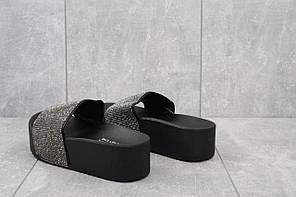 Шлепанцы Violeta 8 - 294 (лето, женские, текстиль, серебристый-черный)