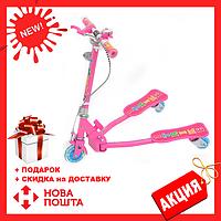 Детский светящийся трехколесный самокат iTrike JR 3-017 Розовый (3 вида)   самокат на 3 колесах для детей