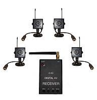 Новый цифровой комплект беспроводного видеонаблюдения 540 TVL с детектором движения (модель KENVS B02kit x 4), фото 1
