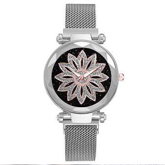 Женские наручные часы на магнитной застежке (серебристый ремешок), фото 2