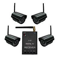 Новый цифровой комплект беспроводного видеонаблюдения 540 TVL с детектором движения (модель KENVS B01kit x 4), фото 1