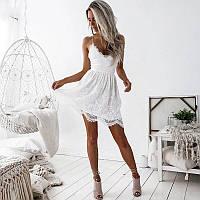 Невероятное летнее кружевное платье с красивой спинкой на шнуровке на бретелях
