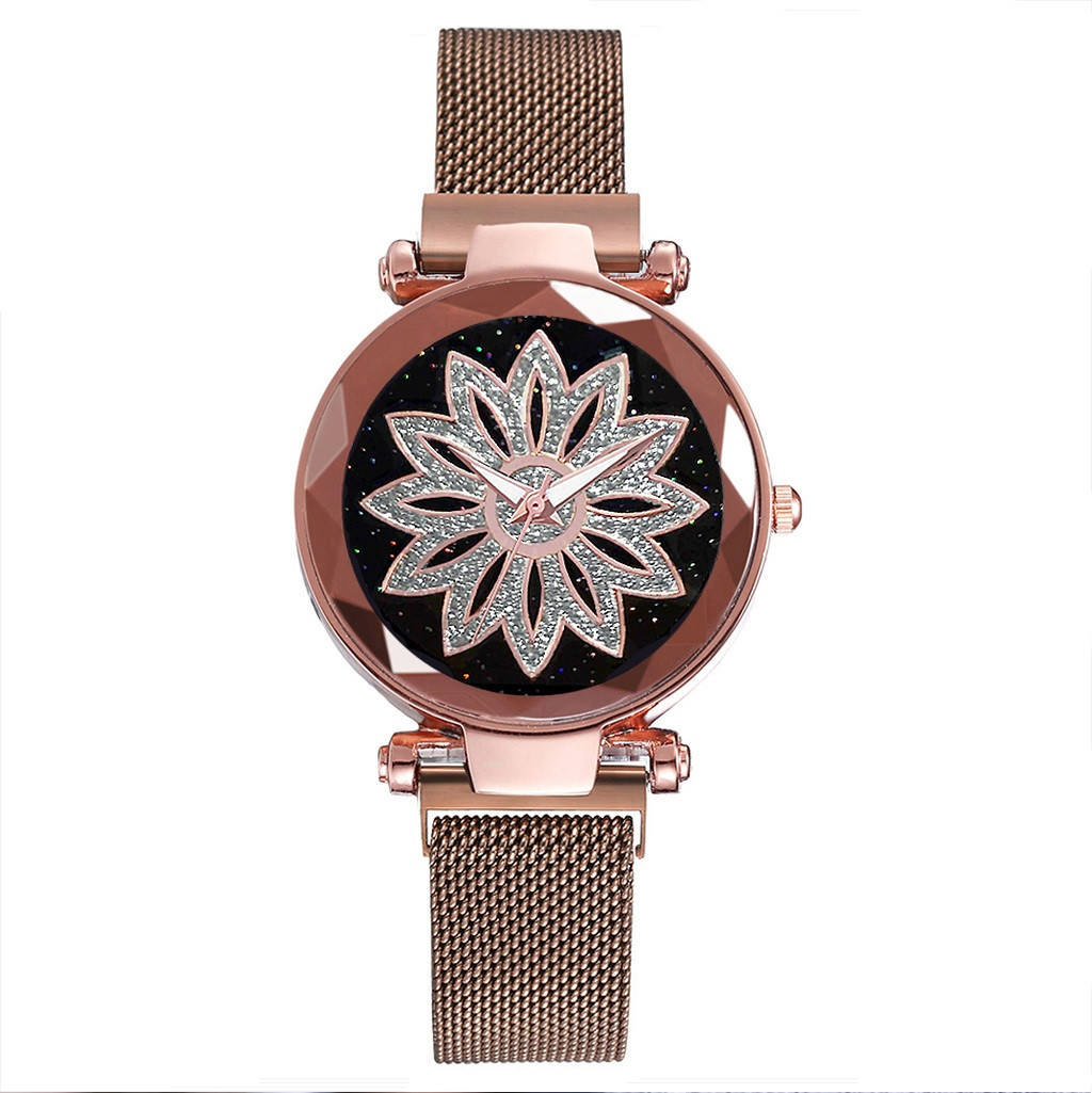 Женские наручные часы на магнитной застежке (коричневый ремешок)