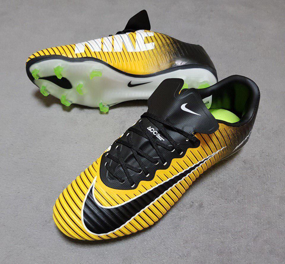58be841f7 Бутсы Nike Mercurial Vapor XI FG Laser Orange, черно-желтые без  носка,беговые