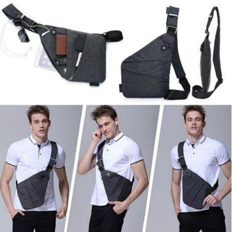 Стильная мужская сумка мессенджер Cross Body черная качественная Рюкзак городской