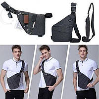 Стильная мужская сумка мессенджер Cross Body черная качественная Рюкзак городской, фото 1