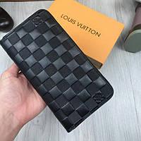 b97fe3a22154 Брендовый кожаный кошелек Louis Vuitton черный клатч женский мужской кожа  портмоне Луи Виттон люкс реплика