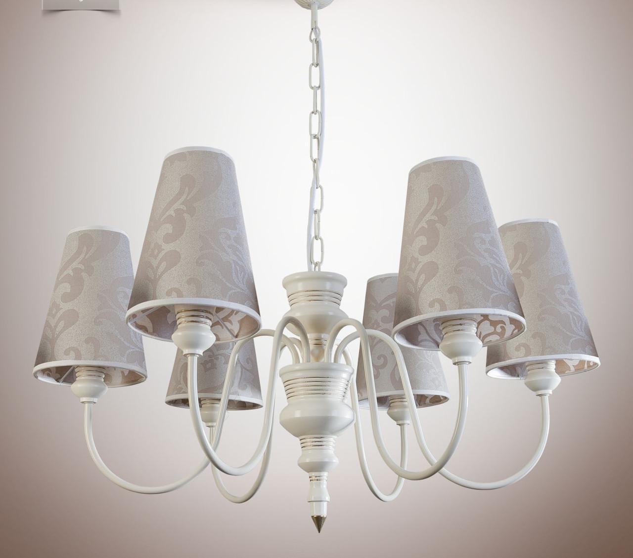 Люстра для зала, для гостиной с абажурами, 6 ламповая 14406-5