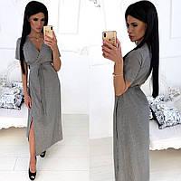 Женское стильное платье на запах, женское длинное платье