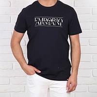 Мужская модная футболка Emporio Armani, темно-синего цвета.