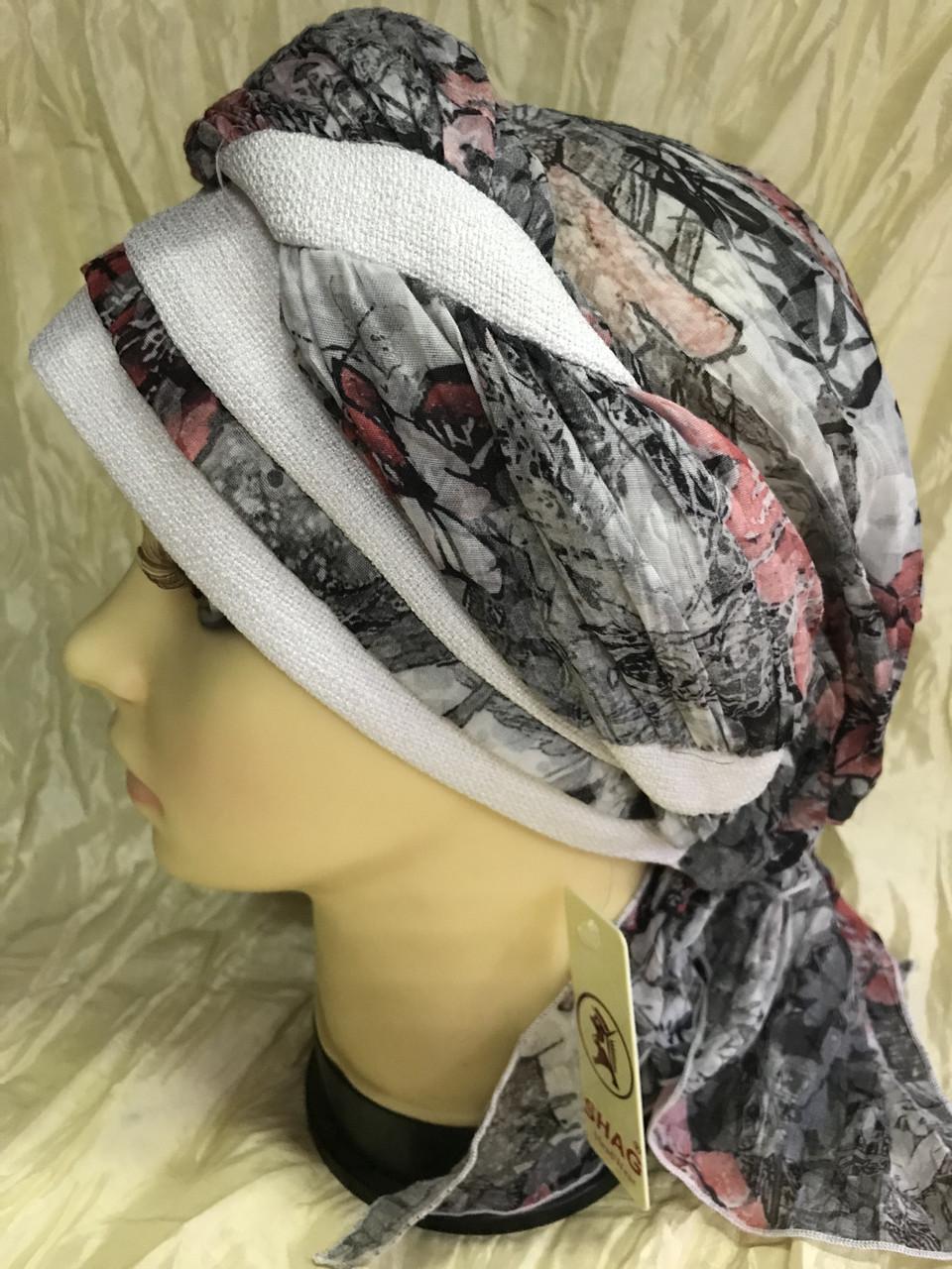 Річна бандана-шапка-косинка бавовняна з об'ємною драпіруванням з однотонним кантом
