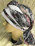Летняя бандана-шапка-косынка хлопковая с объёмной драпировкой с серым кантом, фото 3
