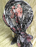 Річна бандана-шапка-косинка бавовняна з об'ємною драпіруванням з однотонним кантом, фото 5