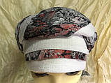 Летняя бандана-шапка-косынка хлопковая с объёмной драпировкой с серым кантом, фото 6