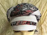 Річна бандана-шапка-косинка бавовняна з об'ємною драпіруванням з однотонним кантом, фото 6