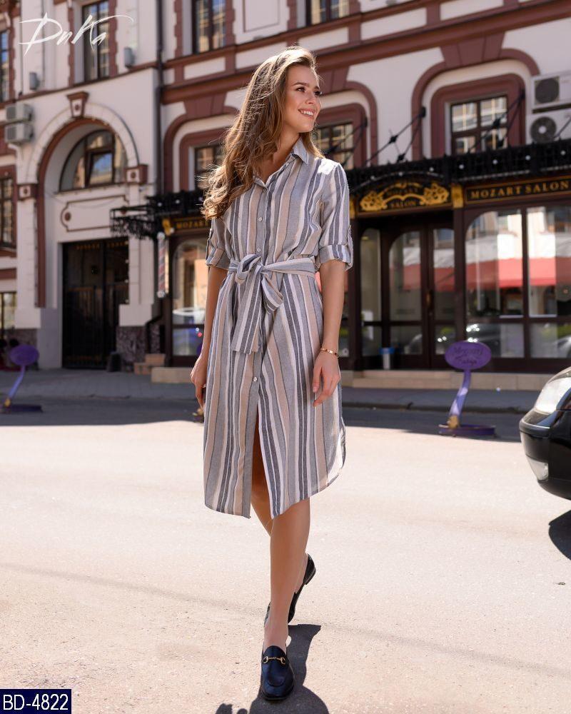 Женское летнее миди платье в полоску на пуговицах с коротки рукавом,пояс в комплекте (лен)