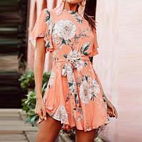 Летнее платье с невероятным цветочным принтом и с красивой спинкой