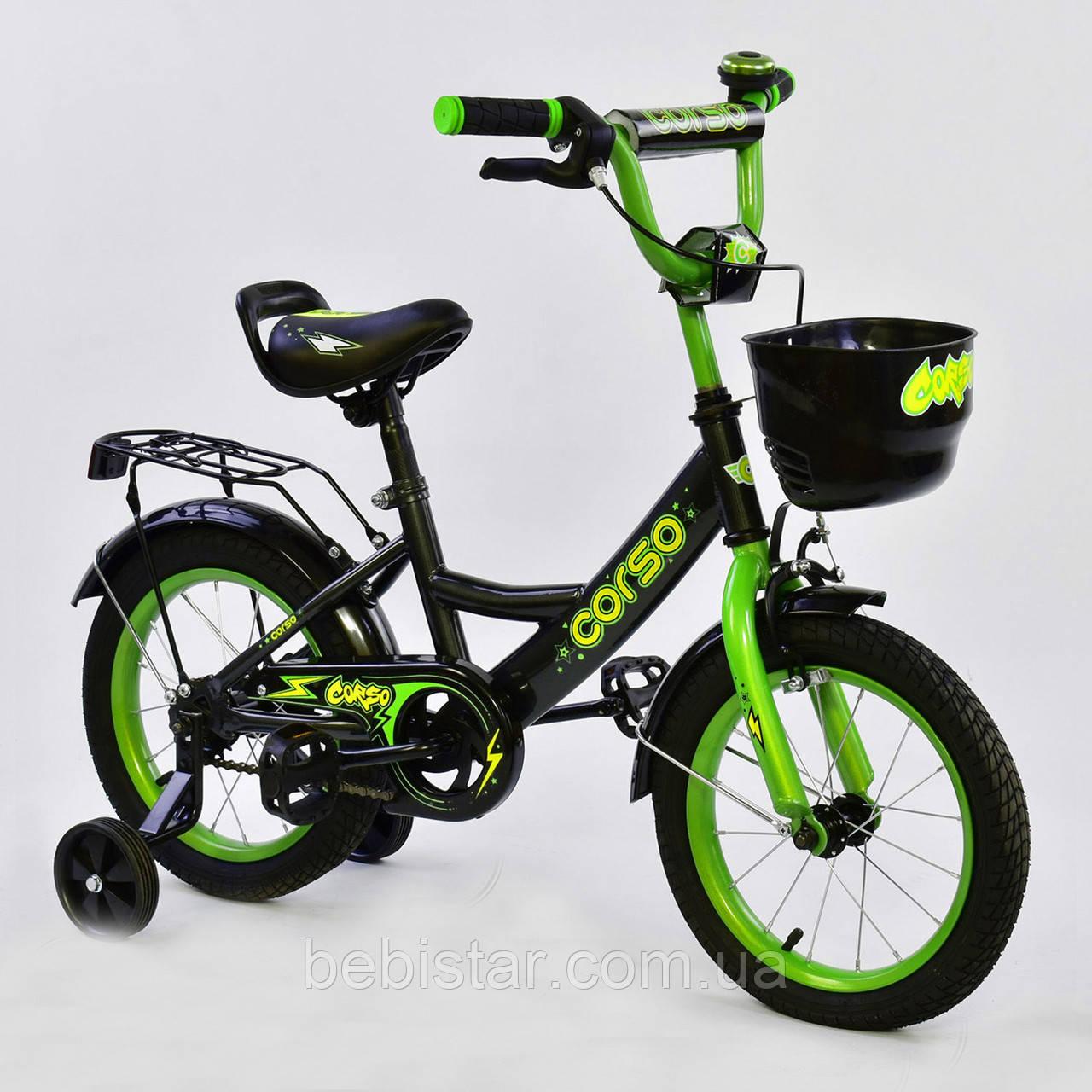 """Двоколісний дитячий велосипед чорний ручне гальмо дзвіночок кошик Corso 14"""" дітям 3-5 років"""