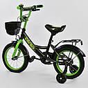"""Двоколісний дитячий велосипед чорний ручне гальмо дзвіночок кошик Corso 14"""" дітям 3-5 років, фото 2"""