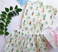 Пижама хлопковая кактусы на белом (шорты + футболка)