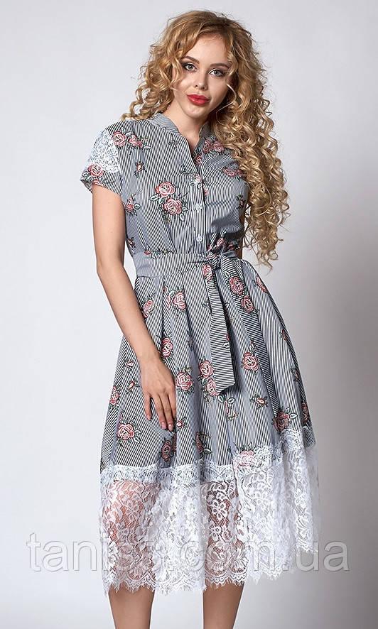 Нарядное летнее платье полоска, отделка кружево, ткань х/б, под поясок р-р 44,46,48 розы(701)