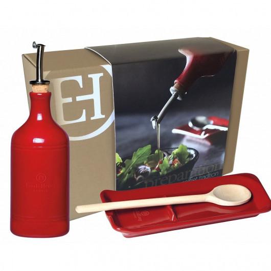 Набор: бутылка для масла + подставка под ложку Emile Henry красные (349762)