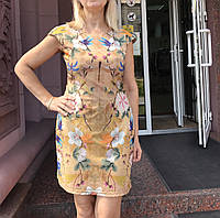Платье шелковое мини приталенное летнее, фото 1