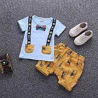 Костюм для мальчиков летний желтый с голубым