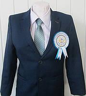 Медаль Першокласник с розеткой бело-синяя