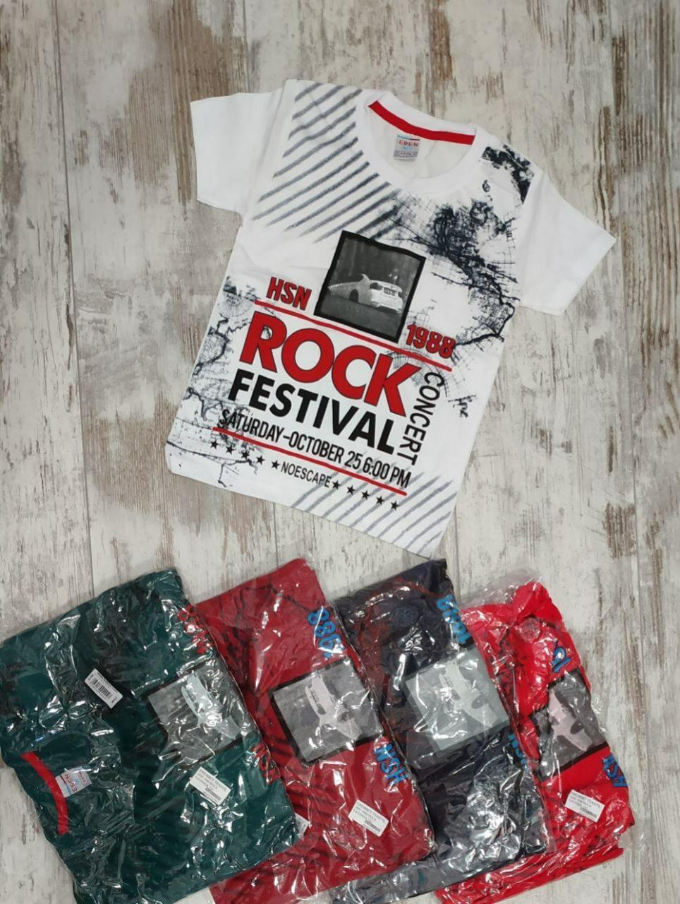 """Футболка детская """"Rock"""" для мальчиков. Возраст 5-8 лет (110-128 см). Один цвет в упаковке. Оптом"""