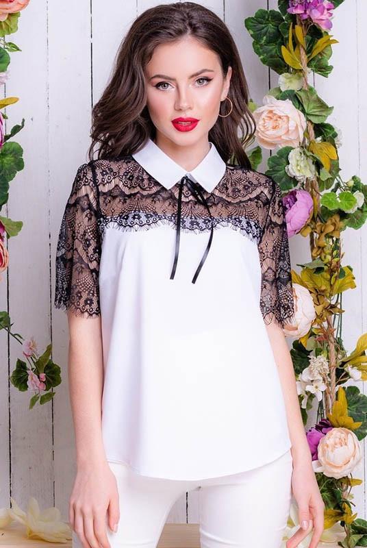 Блузка с кружевом Сарита 48-60рр