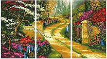 АМТ-001. Алмазная мозаика Триптих Дорога в сад (4 картины 25х43см)