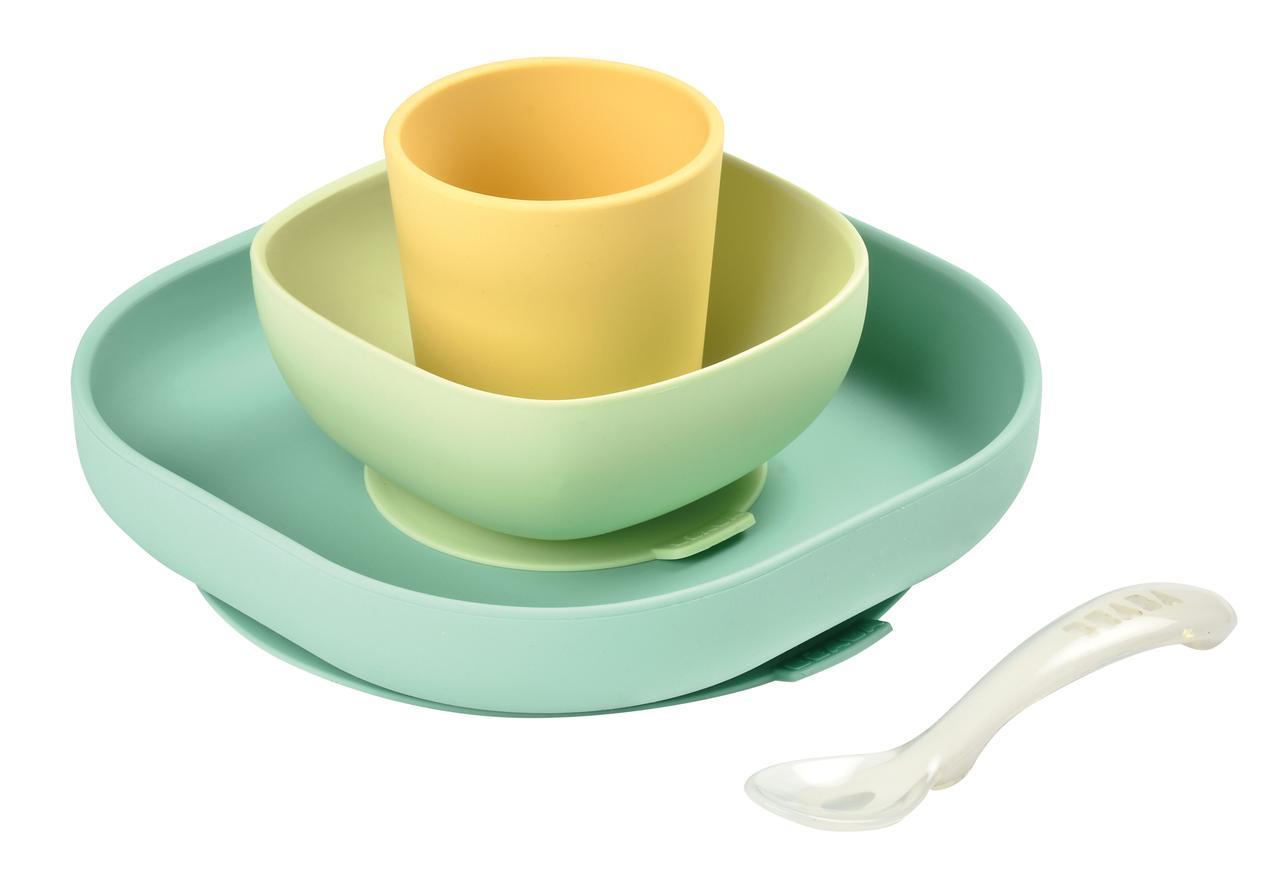 Beaba - Набор силиконовой посуды 4 предмета, yellow