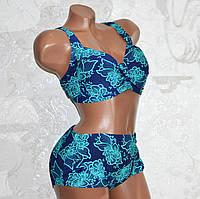 Большой 58. Яркий женский купальник, темно-синий с бирюзовыми цветами, для полных женщин
