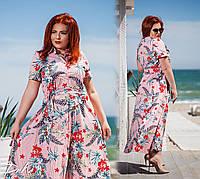 Женское длинное летнее платье в полоску с цветочным принтом №0430 (р.50-56), фото 1