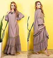 Молодежное легкое летнее платье макси, в пол, хлопок и кружево, р. 48,50,52,54 капучино (417)
