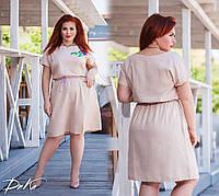Женское льняноеплатье №1255 (р.42-56) молочный, фото 1