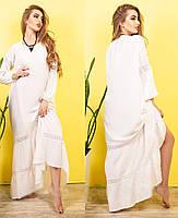 Молодежное легкое летнее платье макси, в пол, хлопок и кружево, р. 48,50,52,54 белый (417)