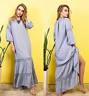 Молодежное легкое летнее платье макси, в пол, хлопок и кружево, р. 48,50,52,54 джинс (417)